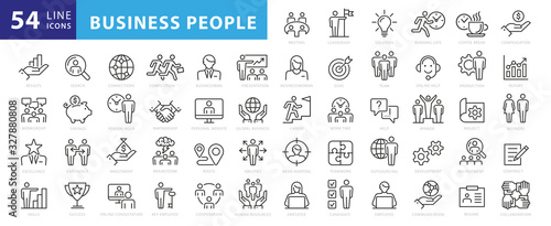 Business people, human resources, office management - thin line web icon set. Outline icons collection. Simple vector illustration