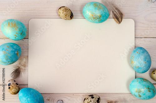 Obraz Easter background. Colorful easter eggs. Frame background with easter eggs. Place for text - fototapety do salonu