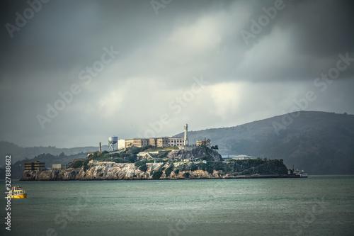 Alcatraz island under a grey sky Canvas Print