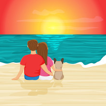 Vector Illustration Of Happy Couple With Dog Sitting On Beach Shore Of The Ocean. Beach Scene In Cartoon Flat Style. Summer Background Of The Evening Beach At Sunset With Waves, Clouds In The Sky