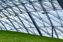 Glass Roof Of The Pavilion In The Moscow Park Zaryadye