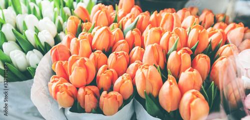 Fotografie, Obraz tulips for sale at street flowers market