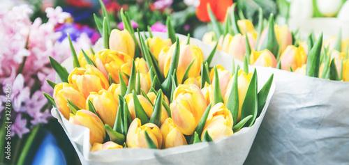 Fototapeta tulips for sale at street flowers market