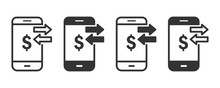 Payment Phone Icons In Four Different Versions In A Flat Design