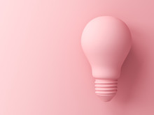 Pink Pastel Color Light Bulb Isolated On Pink Pastel Color Background With Shadow 3D Rendering