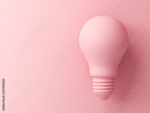 Fototapeta Pink pastel color light bulb isolated on pink pastel color background with shadow 3D rendering obraz na płótnie