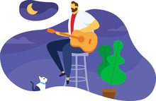 Guy Man Sitting On A Chair Playing A Guitar In His Hands A Guitar. The Cat Near The Man Looks At The Chair. High Chair With Man And Cat Playing Guitar Musical Instrument