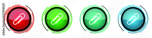 Photo Paperclip round glossy vector icons, set of buttons for webdesign, internet and