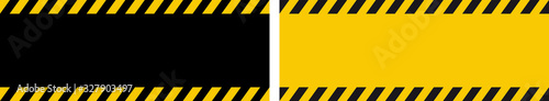 Fotografia Danger warning banner with black and yellow strips