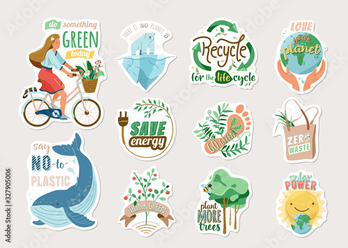 Fototapeta Ecology and recycle sticker set with save environment vector illustration and motivational quote text. Eco badges with earth, girl on bike, nature plant, whale, polar bear isolated on light obraz