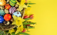 Happy Easter - Painted Eggs On...