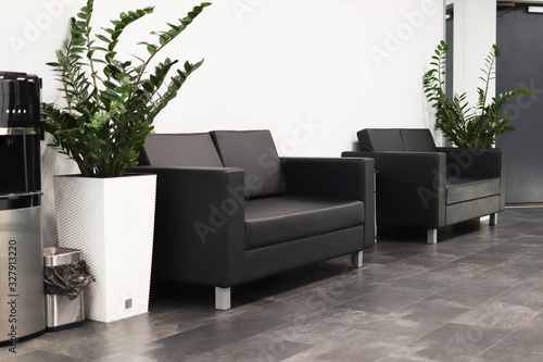 Obraz Waiting area, sofas in the waiting area, stylish interior - fototapety do salonu