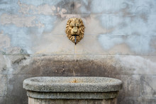 WARSAW, POLAND - Close Up Of Relic Spring, Source With Golden Metal Head Of The Lion On Obozna Street In Warsaw. Historical Treasure From 1837 Year Based On Edward De Klopmann Project