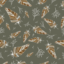 Seamless Feather Pattern. Vector Drawing By Hand. For Cover Design, Fabric, Things, Postcards, Decoupage.
