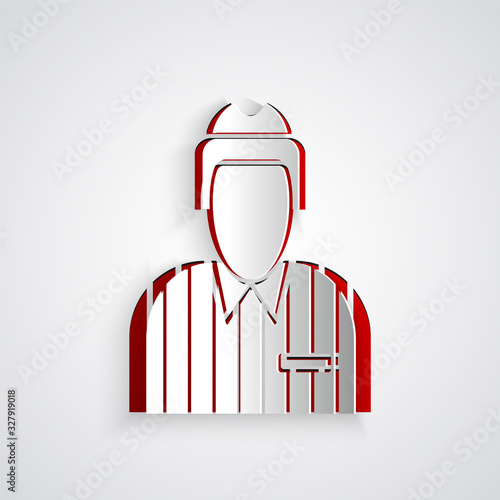 Paper cut Hockey judge, referee, arbiter icon isolated on grey background Wallpaper Mural