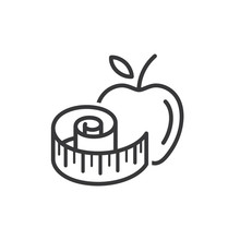 Apple With Measuring Tape Line And Glyph Icon, Fitness And Sport, Diet Sign Vector Graphics, A Linear Pattern On A White Background.