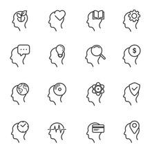 Thinking Heads Line Icons. Edi...