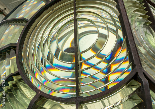 Close image of the glass prisms making up a fresnel lens in a lighthouse Tapéta, Fotótapéta