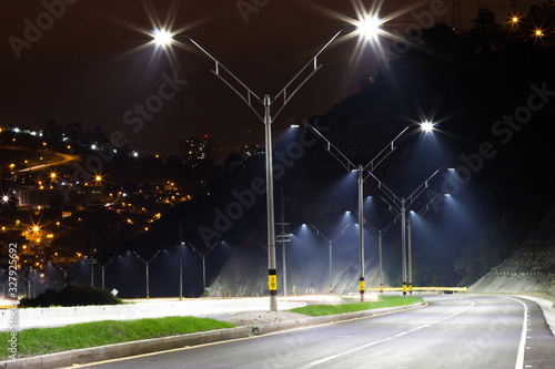 LED illumination highway in Medellin Colombia