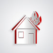 Paper cut Fire in burning house icon isolated on grey background. Paper art style. Vector Illustration
