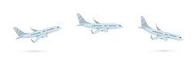 Vector Set Of Cartoon Illustration Of Passenger Airplane Isolated On White Background. Taking Off, Flying And Landing Commercial Airplane. Airline Concept, Travel Passenger Jet For Design. Side View.