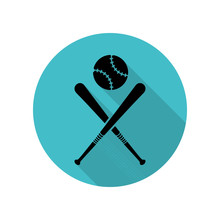 Baseball Bat And Ball Long Shadow Icon. Simple Glyph, Flat Vector Of Arrow Icons For Ui And Ux, Website Or Mobile Application