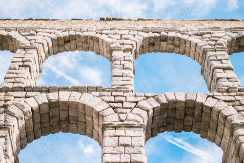 Ancient Roman aqueduct in Segovia, Castilla y León, Spain Wallpaper Mural
