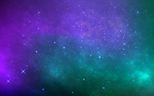 Space Background With Stardust And Shining Stars. Colorful Cosmos With Realistic Galaxy And Nebula. Starry Wallpaper. Bright Milky Way. Vector Illustration