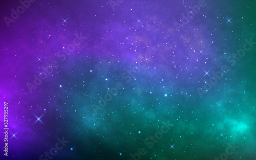 Obraz Space background with stardust and shining stars. Colorful cosmos with realistic galaxy and nebula. Starry wallpaper. Bright milky way. Vector illustration - fototapety do salonu