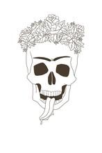 Skull And Frida Kahlo. Card And Carnival
