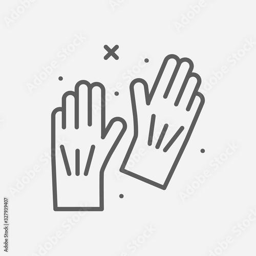Fotografie, Obraz Cleaning gloves icon line symbol