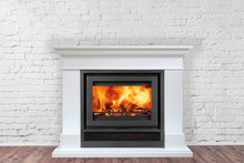 White Fireplace In Bright Empt...