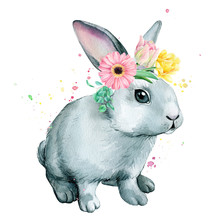 Cute Bunny With A Wreath Of Fl...