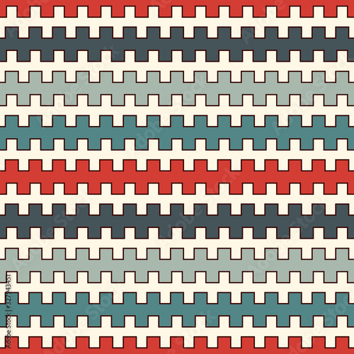 Photo Retro colors seamless pattern with battlement curved lines