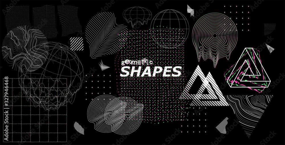 Fototapeta Modern universal trendy shapes, with glitch effects. Cyberpunk retro futurism set, vaporwave. Abstract digital elements for web banner, posters, covers design, futuristic Memphis. Vector illustration