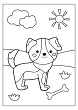 Coloring Page For Children. Cute Cartoon Dog With Bone. Farm Animals. Educational Game. Vector Illustration.