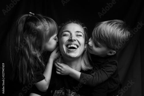 Stampa su Tela caucasian Family Portrait in Black and White