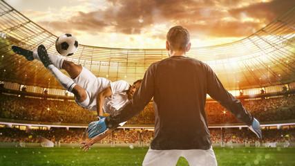 Panel Szklany Podświetlane Piłka nożna Soccer striker hits the ball with an acrobatic kick in the air at the stadium