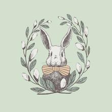 Cute White Rabbit In A Frame O...