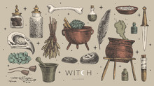 Large Vector Set Of Magic Items For The Witch, Wizard. Ancient Symbols Of Witchcraft: Potion, Skull Of A Bird, Mystical Stones And Amulets, Knife, Bone, Crystal, Mortar. Wicca And Pagan Traditions.