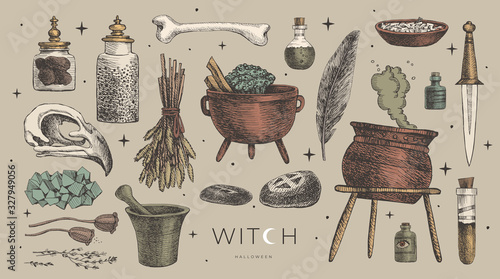 Fotografia Large vector set of magic items for the witch, wizard