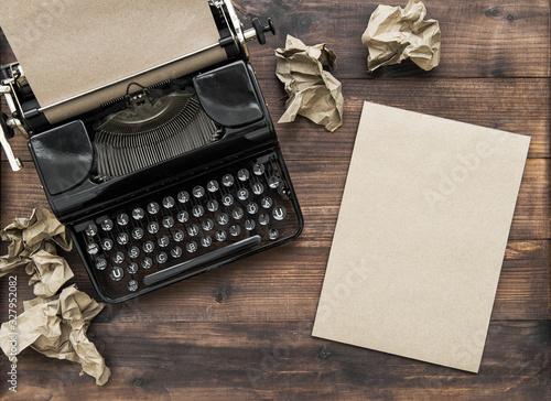 Fotografia Antique typewriter paper notebook Creativity concept