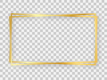 Double Gold Shiny 16x9 Rectangular Frame