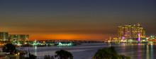 Twilight View Of Skyline, Destin Harbor, Florida, Panorama