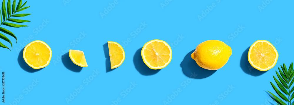 Fresh yellow lemons overhead view - flat lay