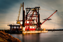 Red And Yellow Crane Ship In T...
