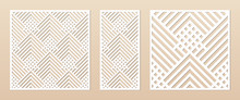 Laser Cut Panel. Abstract Geometric Pattern With Lines, Rhombuses, Squares. Elegant Decorative Template For Wood Cut, Paper Card, Metal Cutting, Engraving, Fretwork, Carving. Aspect Ratio 1:1, 1:2