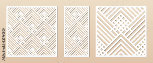 Fototapeta Laser cut panel. Abstract geometric pattern with lines, rhombuses, squares. Elegant decorative template for wood cut, paper card, metal cutting, engraving, fretwork, carving. Aspect ratio 1:1, 1:2 obraz