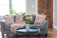 Pink Accents In The Living Room For Spring