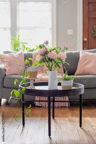 Light and bright home interior with pink accents for Spring Wallpaper Mural